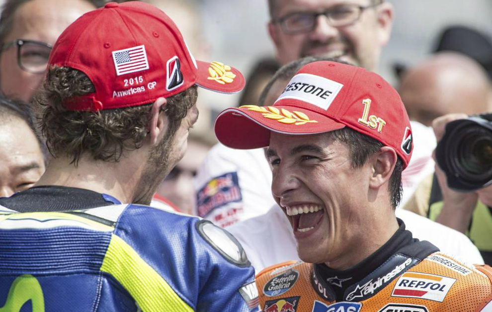 Marc, ready to shake hands with Rossi